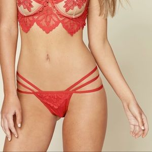 New For Love & Lemons Scarlet Lace Strappy Thong